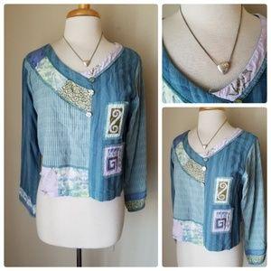 Faith Celia Forrester Patchwork Knit Top +Necklace
